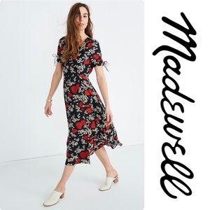 Madewell Peekaboo-Sleeve Midi Dress